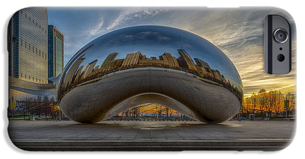 Landmarks Photographs iPhone Cases - Sunrise Cloud Gate iPhone Case by Sebastian Musial