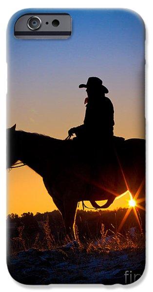 Sunrise Cowboy iPhone Case by Inge Johnsson
