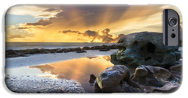 Nature Scene iPhone Cases - Sunrise Explosion iPhone Case by Debra and Dave Vanderlaan