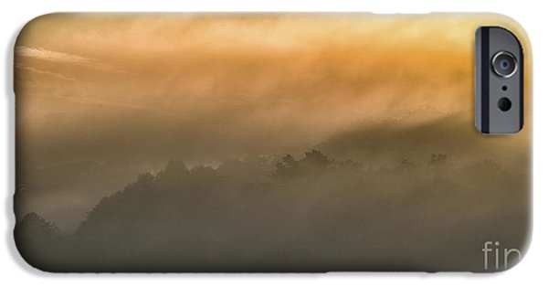 Colorful Cloud Formations iPhone Cases - Sunrise Fog Appalachian Mountains iPhone Case by Thomas R Fletcher