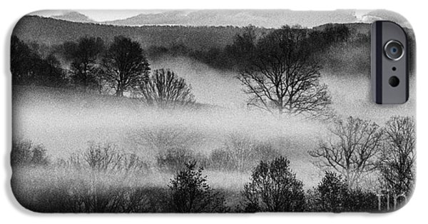 Colorful Cloud Formations iPhone Cases - Sunrise Fog Black and White iPhone Case by Thomas R Fletcher