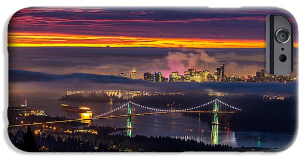 Burrard Inlet iPhone Cases - Sunrise from West Vancouver iPhone Case by Pierre Leclerc Photography