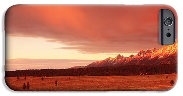 Storm iPhone Cases - Sunrise Grand Teton National Park Wy Usa iPhone Case by Panoramic Images