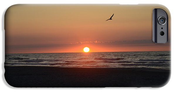 Sea Birds Digital Art iPhone Cases - Sunrise in Avalon New Jersey iPhone Case by Bill Cannon