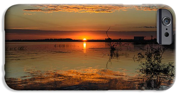 River View Pyrography iPhone Cases - Sunrise in Danube Delta iPhone Case by Attila Simon