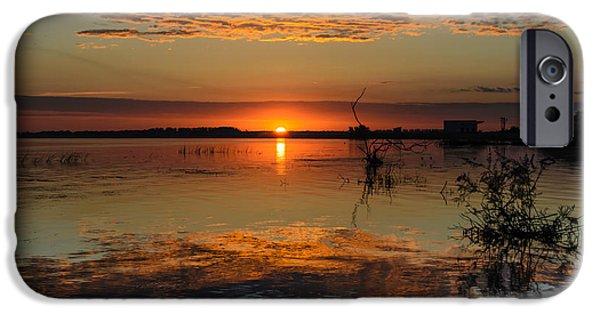 River Pyrography iPhone Cases - Sunrise in Danube Delta iPhone Case by Attila Simon