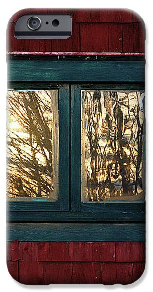 Sunrise in Old Barn Window iPhone Case by Susan Capuano