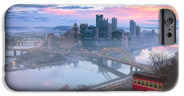 Arena iPhone Cases - Sunrise in Pittsburgh Pa  iPhone Case by Emmanuel Panagiotakis