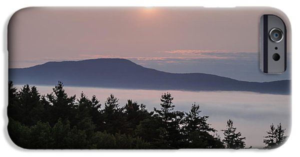 Maine Pyrography iPhone Cases - Sunrise in Stowe Vermont iPhone Case by George Blaney