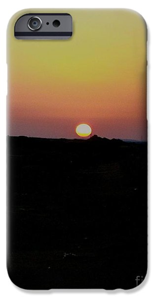 Morning Pyrography iPhone Cases - Sunrise in the Sahara iPhone Case by Lynn R Morris