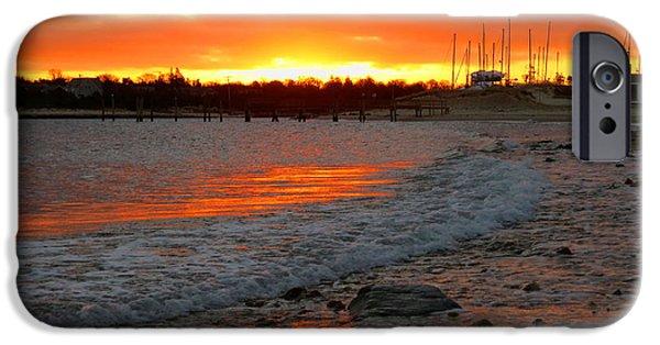 Harbor Sesuit Harbor iPhone Cases - Sunrise in Winter iPhone Case by Dianne Cowen