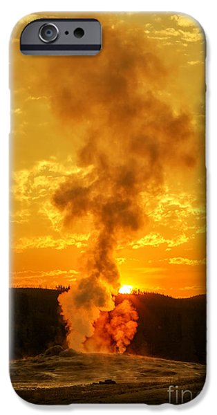 Geographic iPhone Cases - Sunrise in Yellowstone National Park iPhone Case by Edward Fielding