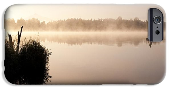Local Attraction iPhone Cases - Sunrise Lake Cassidy With Fishermen iPhone Case by Jim Corwin