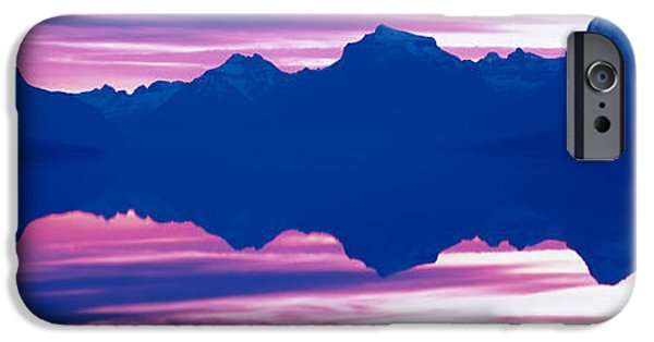 Pastel iPhone Cases - Sunrise Lake Mcdonald Glacier National iPhone Case by Panoramic Images