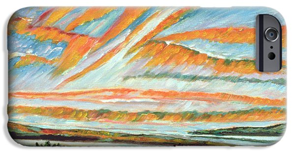 Morning Paintings iPhone Cases - Sunrise Les Eboulements Quebec iPhone Case by Patricia Eyre