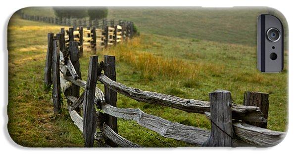 Paint Photograph iPhone Cases - Sunrise Meadow - Blue Ridge Parkway I iPhone Case by Dan Carmichael