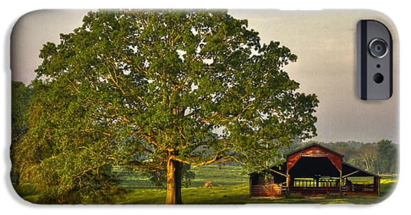 Old Barn iPhone Cases - Sunrise Oak and The Red Barn iPhone Case by Reid Callaway