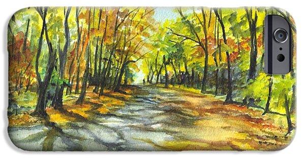 Joyful Drawings iPhone Cases - Sunrise On A Shady Autumn Lane iPhone Case by Carol Wisniewski