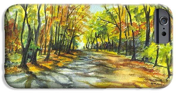Joyful Drawings iPhone Cases - Sunrise On A Shady Autumn Lane iPhone Case by Carol Wisniewski