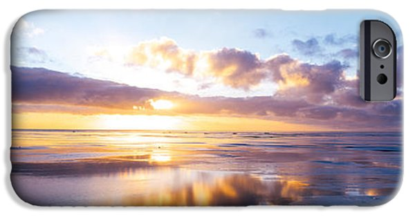 North Sea iPhone Cases - Sunrise On Beach, North Sea, Germany iPhone Case by Panoramic Images