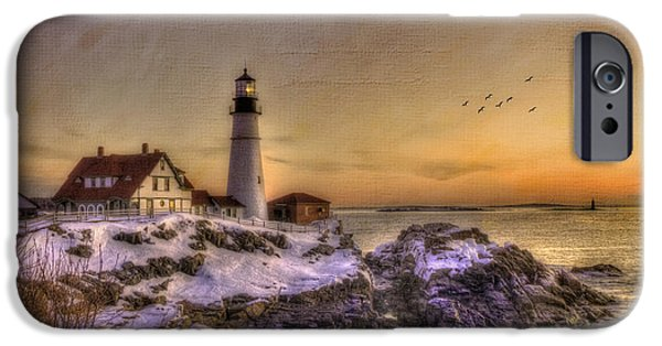 Recently Sold -  - Winter In Maine iPhone Cases - Sunrise on Cape Elizabeth - Portland Head Light - New England Lighthouses iPhone Case by Joann Vitali