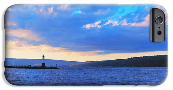 Tree Art Print iPhone Cases - Sunrise On Cayuga Lake Ithaca New York Panoramic Photography iPhone Case by Paul Ge