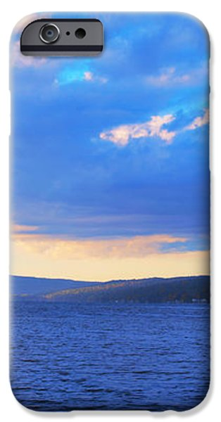 Sunrise On Cayuga Lake Ithaca New York Panoramic Photography iPhone Case by Paul Ge