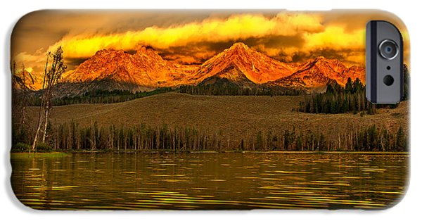 Drama iPhone Cases - Sunrise On Little Redfish Lake iPhone Case by Robert Bales