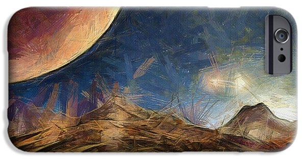 Science Fiction Drawings iPhone Cases - Sunrise on Space iPhone Case by Ayse Deniz
