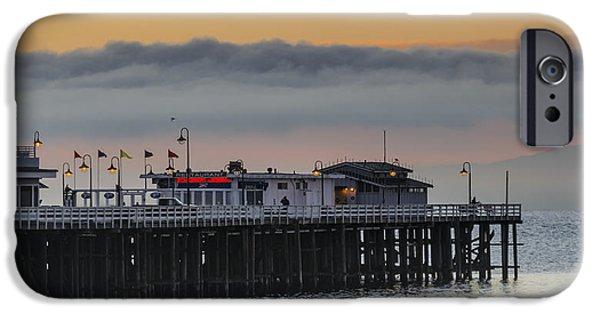 Santa Cruz Wharf iPhone Cases - Sunrise on the Bay iPhone Case by Bruce Frye