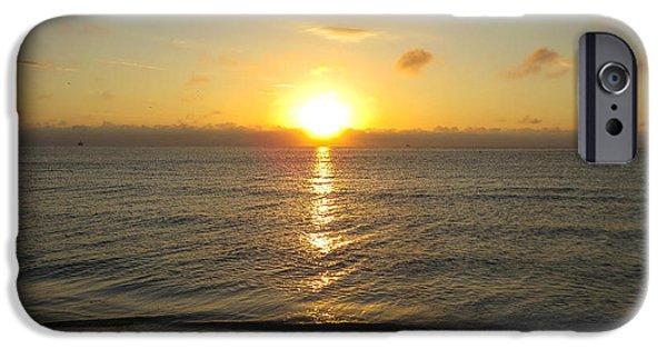 Sunrise iPhone Cases - Sunrise on the beach iPhone Case by Zina Stromberg