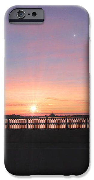 Sunrise on The Bridge iPhone Case by Michael Rucker