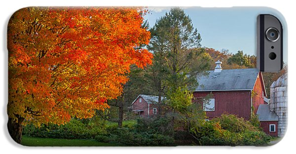 New England Dairy Farms iPhone Cases - Sunrise on the farm iPhone Case by Bill  Wakeley