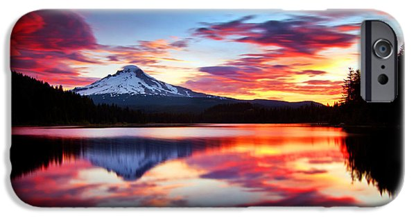 Oregon iPhone Cases - Sunrise on the Lake iPhone Case by Darren  White