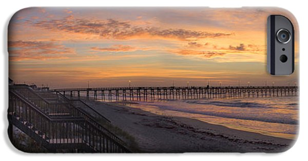 Pier Digital Art iPhone Cases - Sunrise on Topsail Island Panoramic iPhone Case by Mike McGlothlen