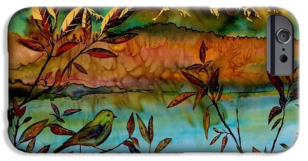 Willow Lake iPhone Cases - Sunrise on Willows iPhone Case by Carolyn Doe