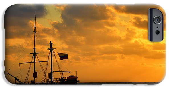 Pirate Ships iPhone Cases - Sunrise over a Pirate Ship iPhone Case by Jess Kraft