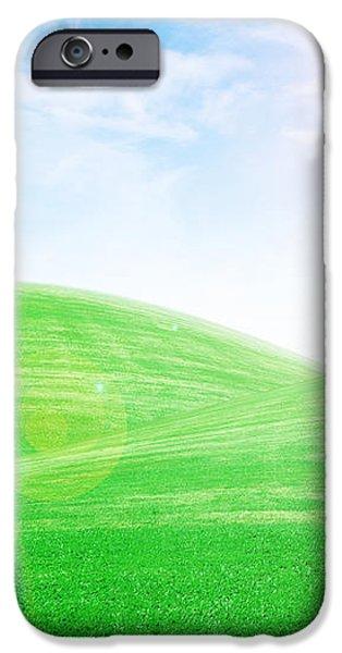 sunrise over green grass hills iPhone Case by Thanapol Kuptanisakorn