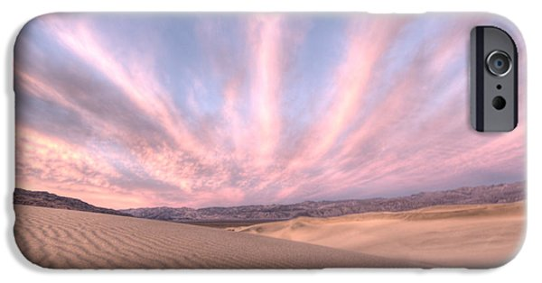 Sand Dunes iPhone Cases - Sunrise over Sand Dunes iPhone Case by Juli Scalzi