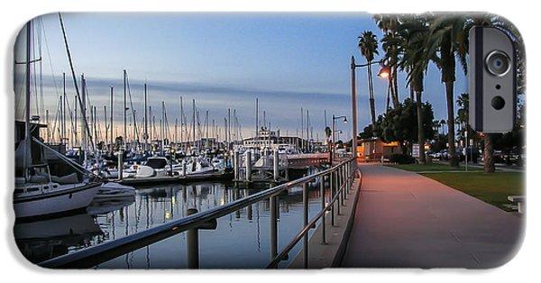 Daybreak iPhone Cases - Sunrise Over Santa Barbara Marina iPhone Case by Tom Mc Nemar