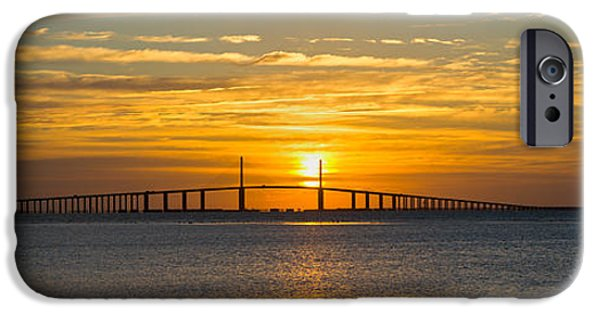 Built Structure iPhone Cases - Sunrise Over Sunshine Skyway Bridge iPhone Case by Panoramic Images