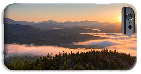 Park Scene iPhone Cases - Sunrise Over The Adirondack High Peaks iPhone Case by Panoramic Images