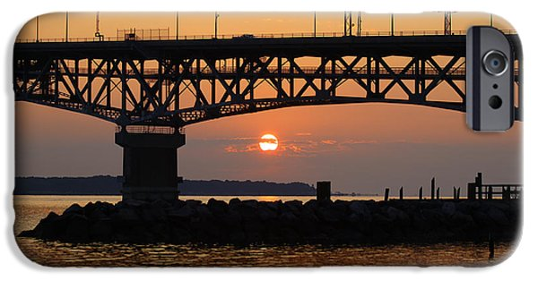 Yorktown Virginia iPhone Cases - Sunrise over the Chesapeake Bay iPhone Case by Barry  Blackburn