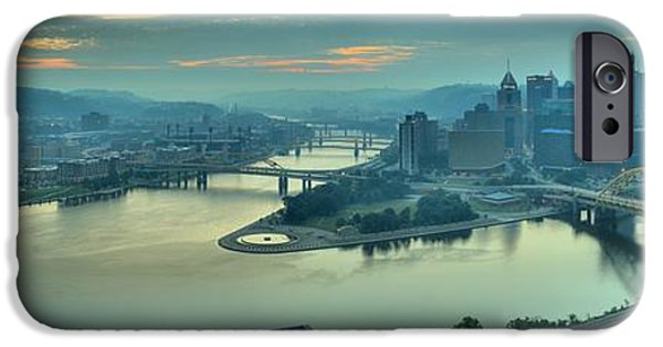 City Scape iPhone Cases - Sunrise Over The Ohio iPhone Case by Adam Jewell