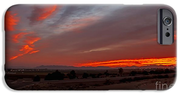 Haybale iPhone Cases - Sunrise Over Yuma iPhone Case by Robert Bales