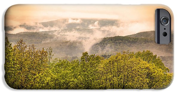 Arkansas iPhone Cases - Sunrise Ozarks Mountain Fog in Arkansas iPhone Case by Brandon Alms