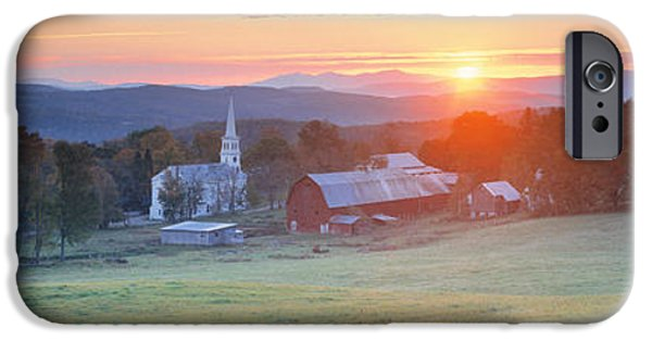New England Village iPhone Cases - Sunrise Peacham Vt Usa iPhone Case by Panoramic Images
