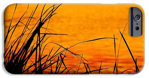 Nebraska iPhone Cases - Sunrise Reflected On The Pond iPhone Case by Bill Kesler