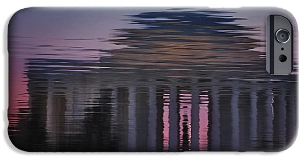 Susan Candelario Photographs iPhone Cases - Sunrise Reflections Of The Thomas Jefferson Memorial iPhone Case by Susan Candelario