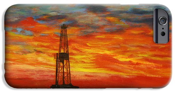 Sunset Paintings iPhone Cases - Sunrise Rig iPhone Case by Karen  Peterson